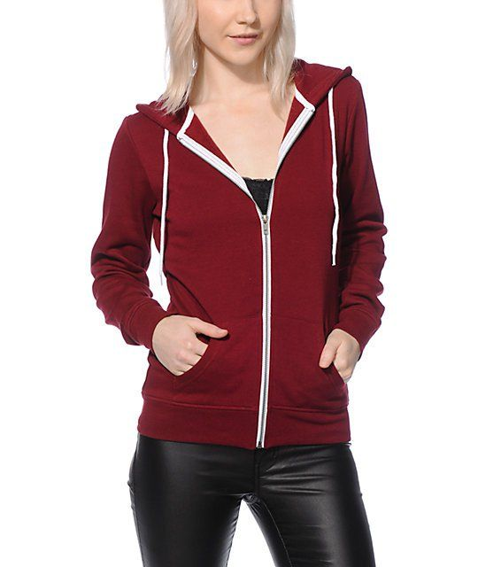 Get your bases covered with the styling of this dark red zip up hoodie that is made with a flattering slim fit and a thick fleece construction for comfort.