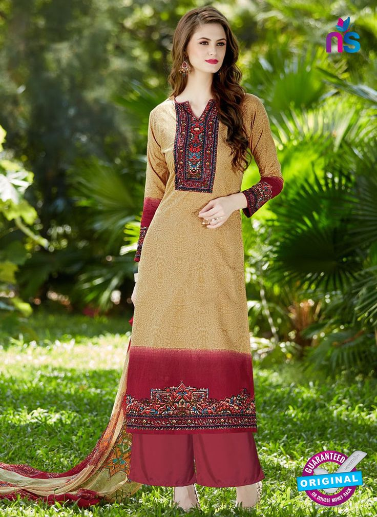 SC 12957 Brown and Maroon Camric Lawn Pakistani Suit