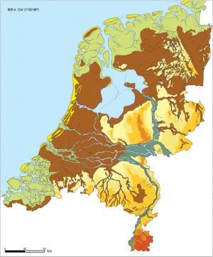 De Zuiderzee dringt steeds verder op naar het oosten en bereikt de hoger gelegen zandgronden van de Veluwe. Het Oer-IJ heeft zijn verbinding met zee verloren,maar vormt wel een belangrijke en gevaarlijke uitloper van de Zuiderzee.