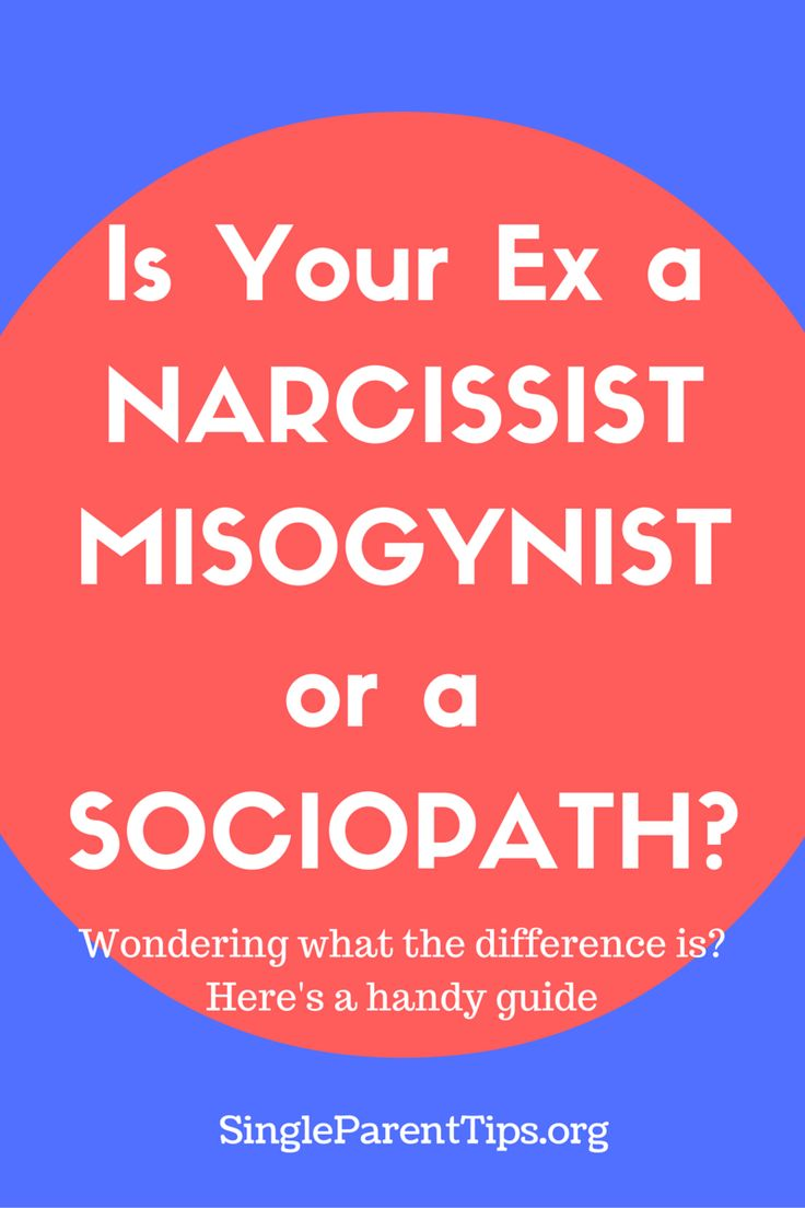 Wondering what the difference is between a Narcissist, a Misogynist and a Sociopath? Here's a simple breakdown between thesethree types of personality disorders: Narcissist A Narcissist is a person who is completely self-obsessed.  Theneed to be reassured of their specialness is their main goal and desire for creating an intimate relationship. They often bounce …