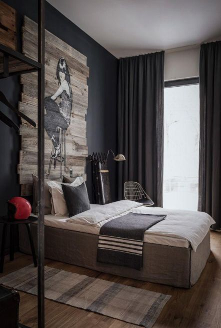 bedroom - artwork on timber used as a headboard, curtains hung ceiling to floor