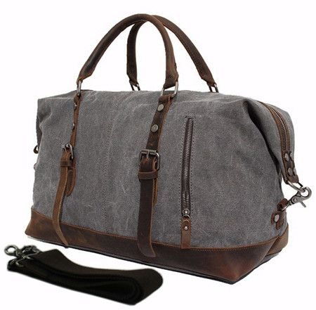 Vintage Military Leather Canvas Duffle Bag