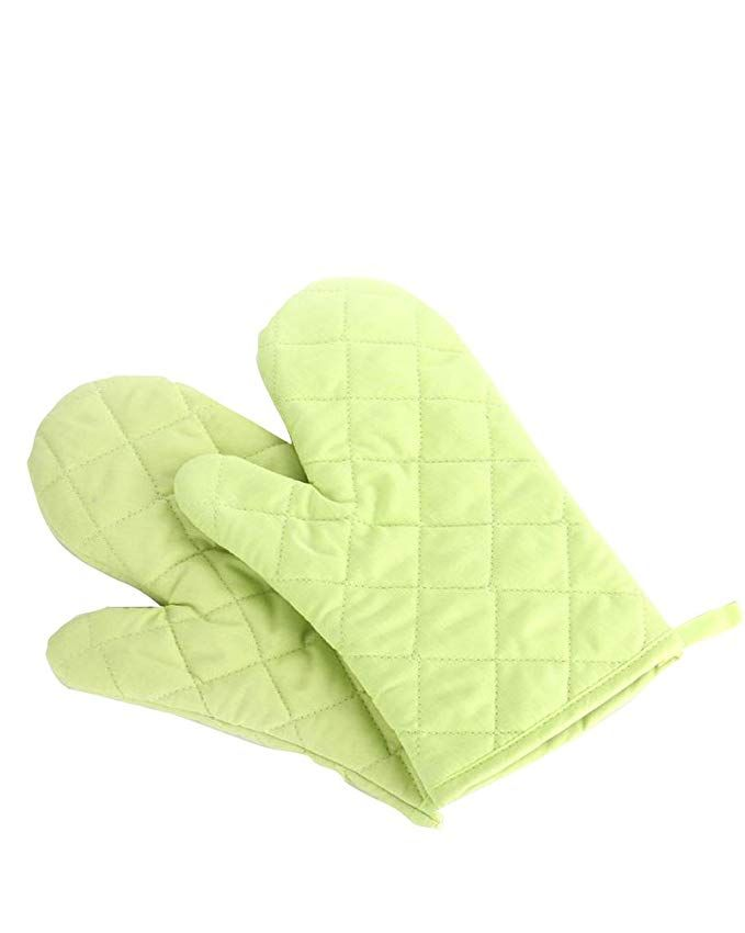 kitchen mittens black pull handles cabinets oven mitts premium heat resistant gloves cotton polyester quilted oversized 1 pair green new
