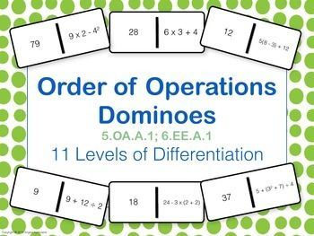 Order of Operations Dominoes - what a fun way to practice math problems!