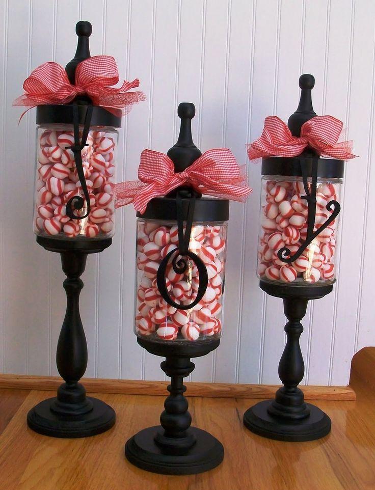 Portavelas decorado con Lazo y bolitas rojas