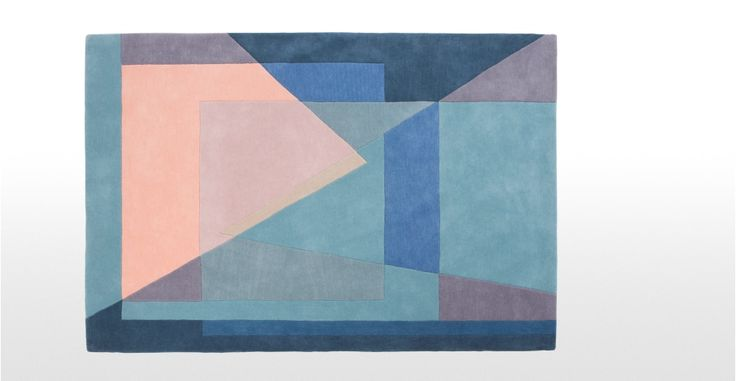 Pyramid Hand Tufted Rug 160 x 230cm, Tonal Blue | made.com