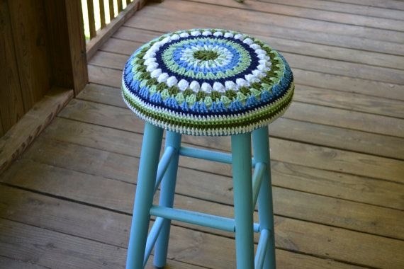 Stool 30  high with Granny Square Crochet Cover by LittlestSister, $65.00