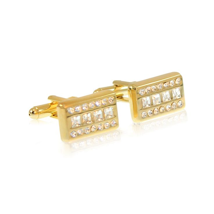 Our Boardroom Bling cufflinks are made from solid brass with gold plating and CZ crystal in-set.  The rhodium ensures a tarnish-free appearance unlike similar cufflinks made from nickel or sterling silver. The jewellery's brass construction and moulded fastening clasp will remain solid and firmly attached for the lifetime of your cufflinks. Expect to enjoy these for the next 20 years! http://www.byariane.com.au/Cufflinks-Boardroom-Bling-Gold
