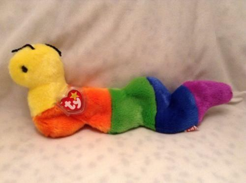 "TY BEANIE BUDDIES BUDDY Inch Multicolor Inchworm 15"" tags PROTECTOR P.E."