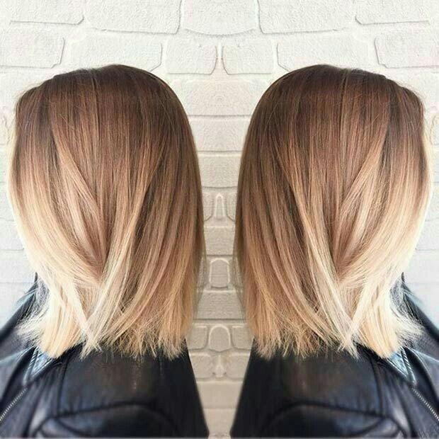 Medium length hair, blonde hair