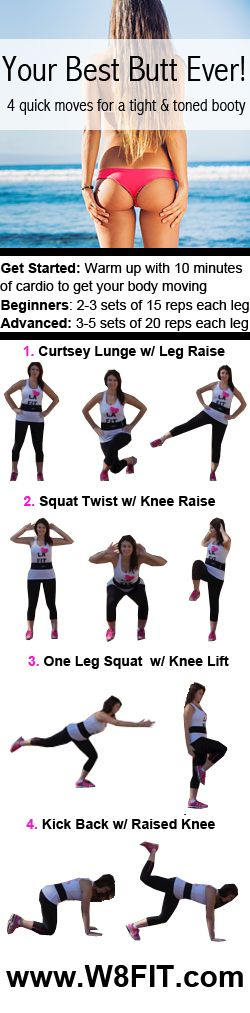 Your Best Butt Ever! Tone your glutes, quads, hamstrings, and abs with these four quick moves. https://www.facebook.com/howtoreducecellulite/app_115462065200508