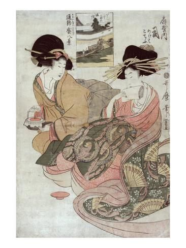 The Courtesan Tsukasa of Ogiya with Attendant, Japanese Wood-Cut Print Posters tekijänä Lantern Press AllPosters.fi-sivustossa