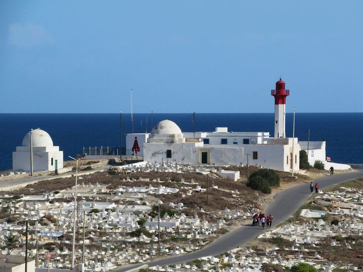 The Phare de Mahdia is on Cap Africa at the east end of the peninsula at Mahdia, Tunisia.