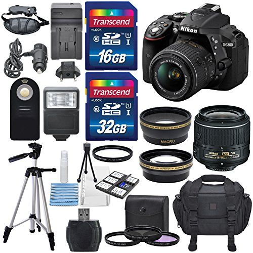 Nikon D5300 24.2MP CMOS Digital DSLR Camera (Black) & Nikon 18-55mm f/3.5-5.6G DX VR II lens  HD 52mm Wide angle Lens & HD Pro 52mm Telephoto lens  Total of 48 GB SDHC Class 10 & Deluxe Bundle