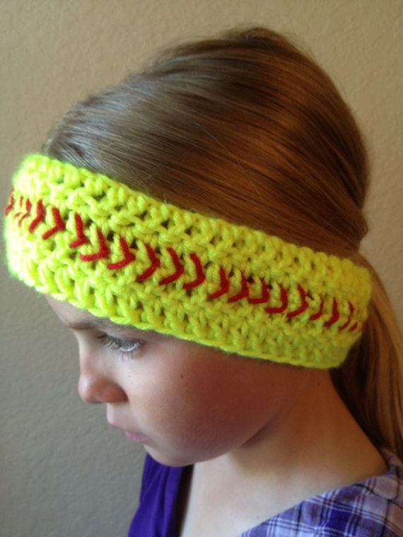 Free Crochet Pattern For Softball Headband : Softball Headband- Softball Headwrap- Ear Muffs- Ear ...