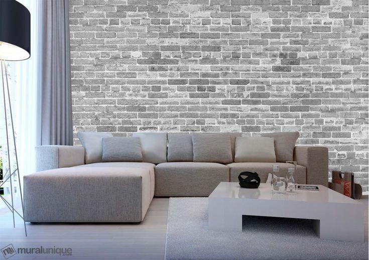 Pas Juste un Autre Mur de Brique (Noir et Blanc) 12' x 8' (3,66m x 2,44m)   Mural Unique
