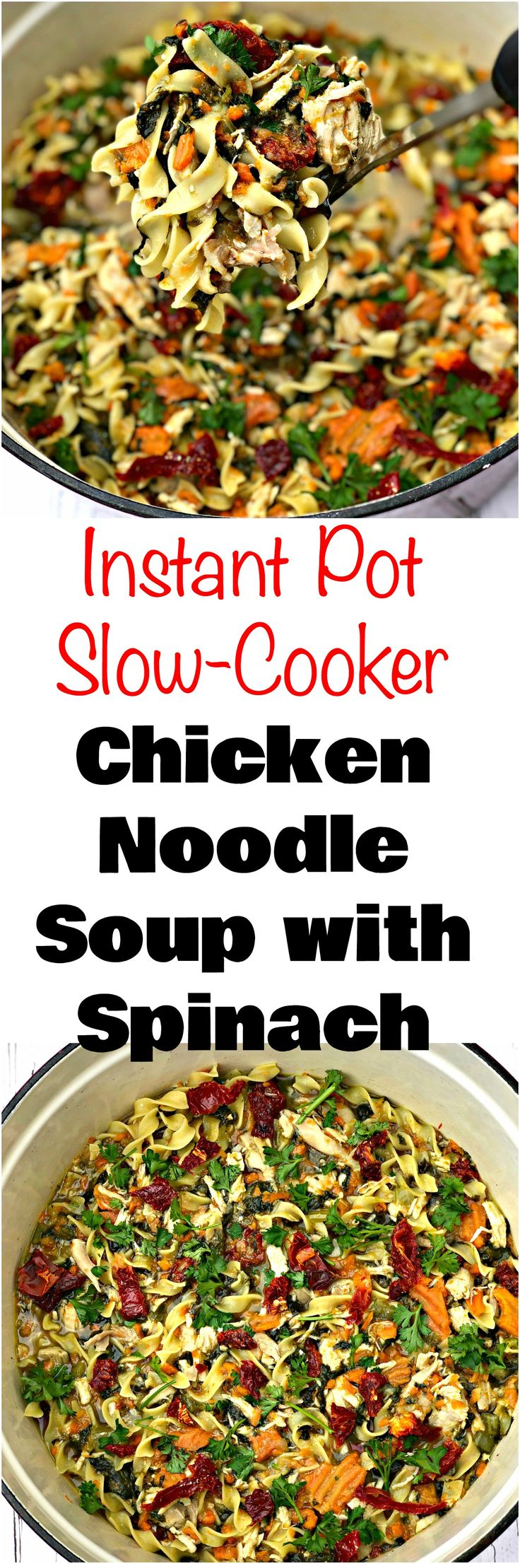 Instant Pot Slow Cooker Chicken Noodle Soup with Spinach is an easy, healthy, pressure cooker, crockpot recipe with Better Than Bouillon Chicken Base and sun-dried tomatoes. #InstantPot #InstantPotRecipes #ChickenRecipes #ChickenNoodleSoup #SlowCooker #SlowCookerRecipes #CrockPot #CrockPotRecipes #HealthyRecipes #Soups #FallRecipes