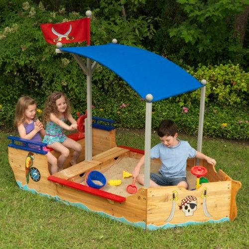 Shiver me timbers! The young swashbucklers in your life are sure to love this sandboat's detailed pirate themed design and fun artwork.  Adding to the appeal in the convenient storage space for keeping buckets, shovels and other sand toys and the shady canopy to keep the kids in the shade and out of the hot sun.  This sandpit is large enough that multiple children can play at once and is of a sturdy construction made from weather-resistant wood.