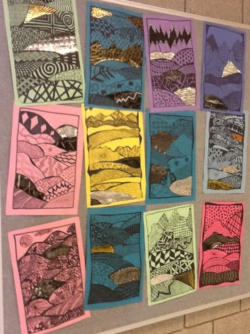 """Zentangle Landscapes  -This project proved to be both very challenging and a lot of fun. Creating pattern isn't as easy as it looks. Zentangle patterns can be difficult to think up. We used some 4-step Zentangle pattern hand-outs to get going but most of us created our own complex patterns as well. The landscape format gave this """"doodle"""" drawing a new layout and scratch-art and tooling foil gave the project some varied texture. Varied line thickness"""
