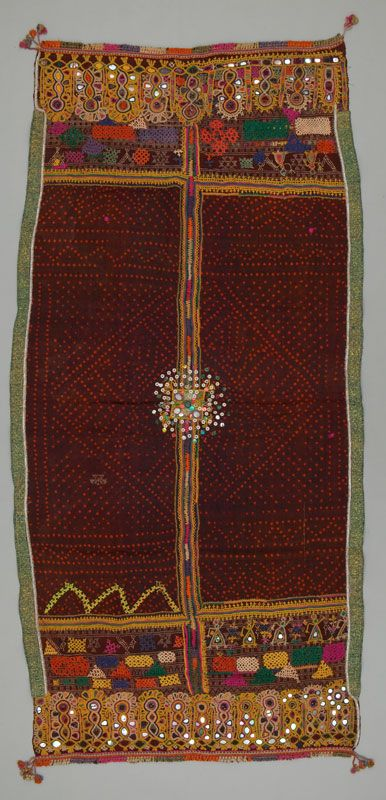 shawl / Odhani by Bharwad  cattle herder community , Saurastra , Gujerat  India  Silk , tie dye embroidered .