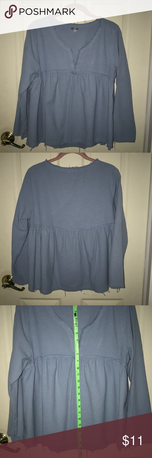 "Ladies Aerie Blue Shirt Aerie size Large Blue Shirt. Front of shirt measures 22"" in length and approx 23 1/2 at the back.  Shirt has been worn a few times and is in good condition. Comes from a smoke free home. aerie Tops Blouses"