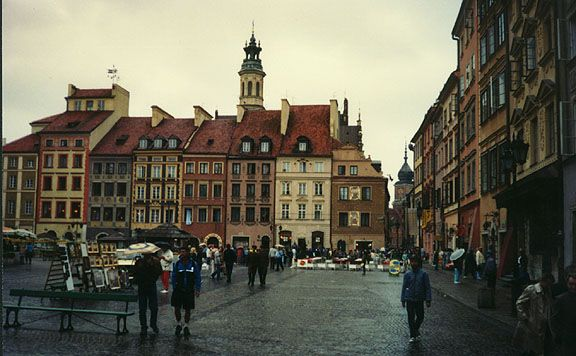 Warsaw-- i walked out into this square from that road in the corner on the right side.
