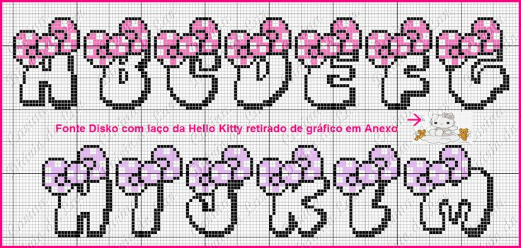 "Delicado Cantinho: Gráficos Ponto Cruz ""Monogramas Hello Kitty"""