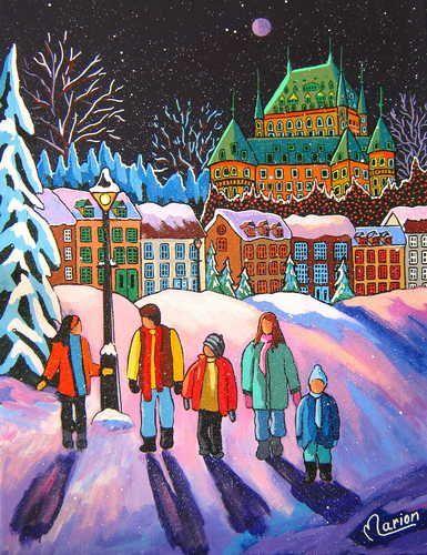 Midnight walk / Minuit sous la pleine lune - Louise Marion, artiste peintre, paysage urbain, Quebec, couleurs
