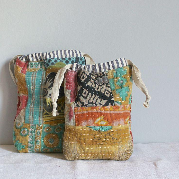 Drawstring bags kantha fabrics | by Roxy Creations