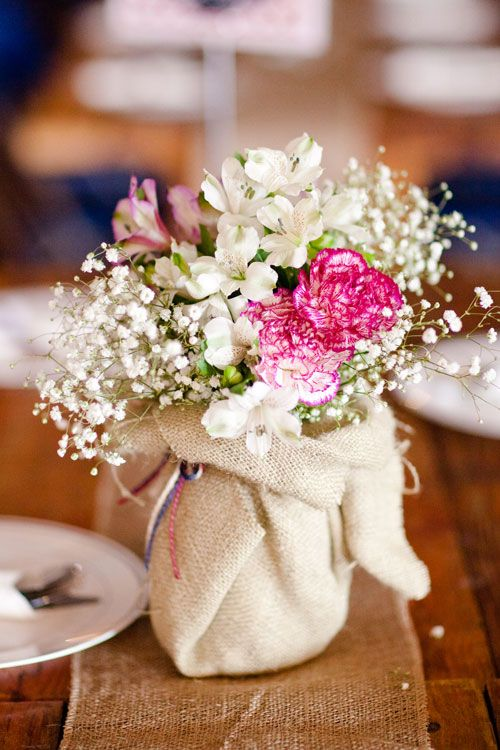 Burlap Wrapped / Covered Mason Jars