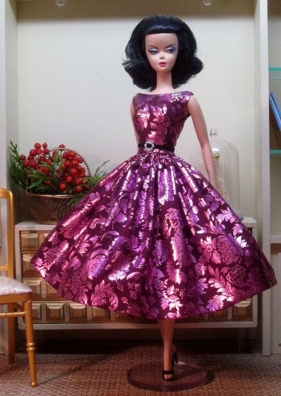 Silkstone BArbie Metallic Magenta Party Dress