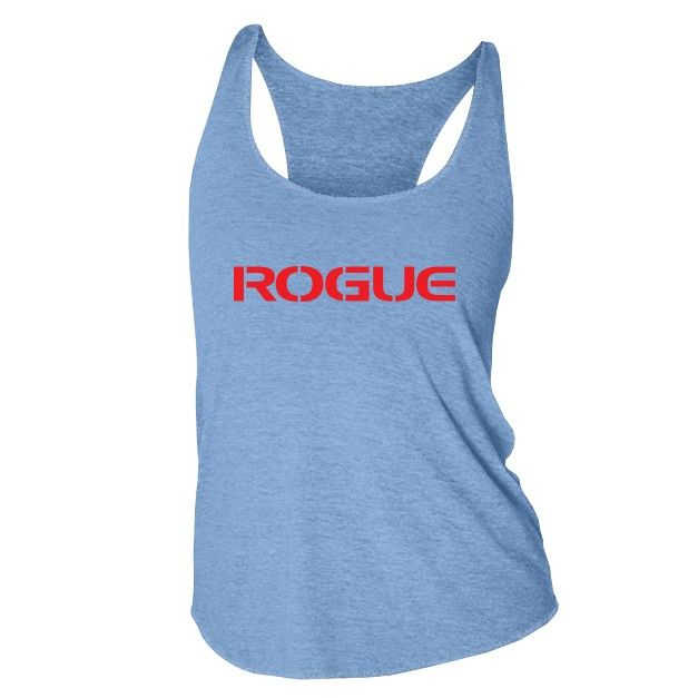 Printed on American Apparel's Tri-blend tank. Features the classic Rogue  logo in red on a grey shirt. Great for the lady CrossFitter in training.