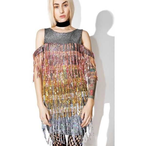 Jaded London Sequin Fringe Mini Dress ($53) ❤ liked on Polyvore featuring dresses, mini dress, fringe cocktail dresses, short sequin dress, off the shoulder mini dress and multi color sequin dress