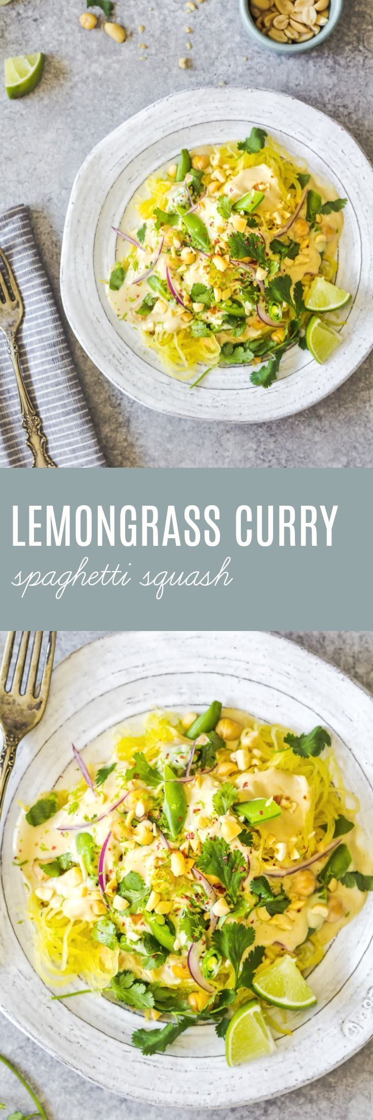 This lemongrass curry spaghetti squash is loaded with vegetables and plant based protein, and the sauce is nothing short of addictive. #spaghettisquash #lemongrass #curry #vegan #vegetarian