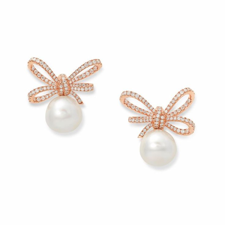 Lyla's Bow earrings in rose gold, diamonds and South Sea pearls (=)