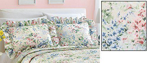 Floral Gardenscape Plisse Pillow Shams * Click image for more details.