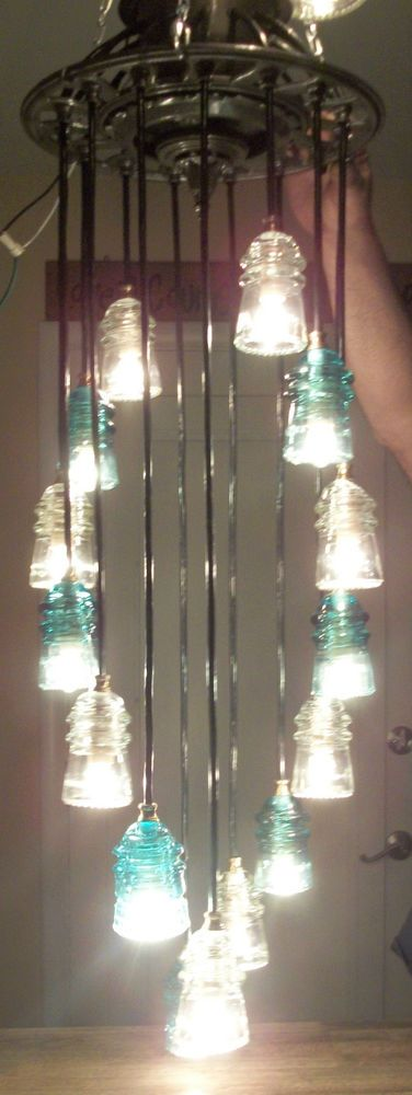 ANTIQUE GLASS ART~Original LINEMAN Telegraph Glass Insulator Chandelier-History in Collectibles, Antiques | eBay