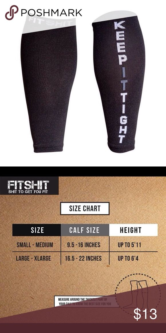 FitShit Unisex Premium Calf Compression Sleeves The perfect FitShit Unisex Premium Calf Compression Sleeves in size Small/Medium. Provides faster muscle recovery, boosted circulation and optimal comfort and relief. Perfect for running. The shit to get you fit! Brand new, never worn. Comes on original plastic packaging. FitShit Other