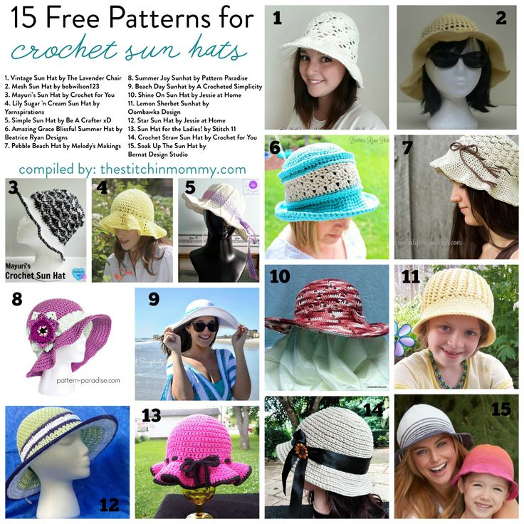 15 Free Patterns for Crochet Sun Hats compiled by The Stitchin' Mommy | www.thestitchinmommy.com