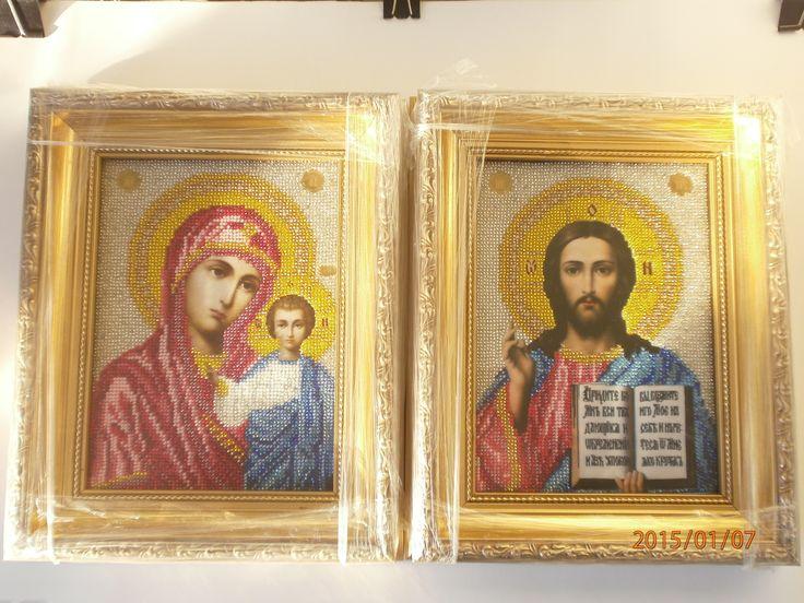 иконы готовые , в рамке, чешский бисер.