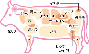 和牛 部位説明図