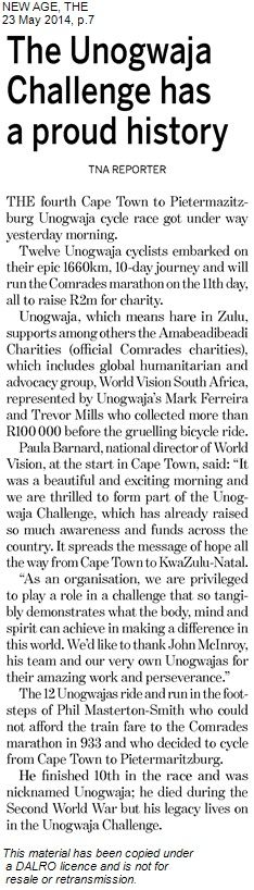 An article in the New Age highlighting World Vision and the support from Trevor Mills and Muddy Mark #Unogwaja2014