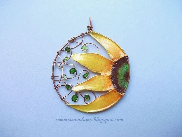 wire sunflower pendant with nail polish by semeistvoadams.blogspot.com