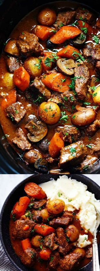 This Slow Cooker Beef Bourguignon from The Recipe Critic has crazy tender, melt in your mouth beef and hearty veggies slow cooked to perfection! It is seriously the best beef stew we have ever had! #slowcookerrecipeshealthy