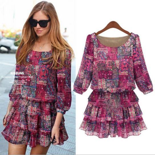 2014 novo XXXXXL moda mulheres plus size vestuário bonito impressão vestidos florais vestidos casuais mulheres frete grátis vestido de verão...