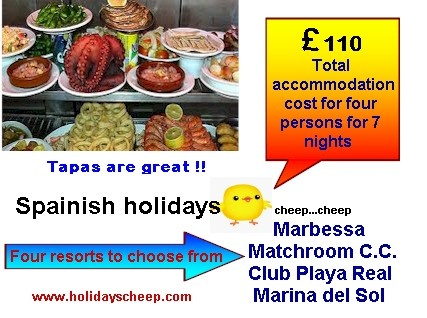 Want to experience Tapas; then you need to visit Spain and get a taste of the real thing. No better place to go than the Spanish Mediterranean coast where you have a choice of four excellent resorts brought to you by Holidays Cheep. Seven nights for up to four people at a total accommodation cost of £110. Excellent value. Have a look here www.holidayscheep.com  then click on any one of the four links to get detail. Enjoy the Tapas.. Enjoy the Tapas.