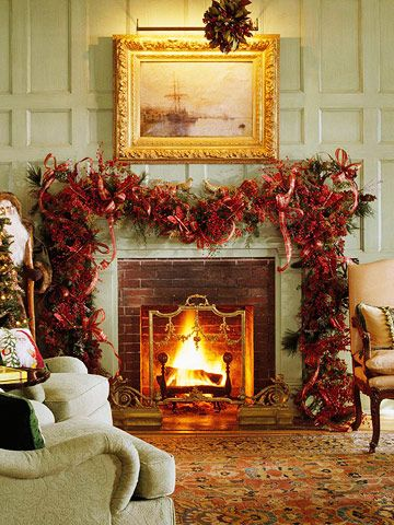 Different spin on traditional holiday decor: Christmas Decoration, Holidays Decoration, Christmas Fireplaces, Decorating Ideas, Decoration Idea, Christmas Garlands, Christmas Mantles, Mantels Decoration, Christmas Mantels