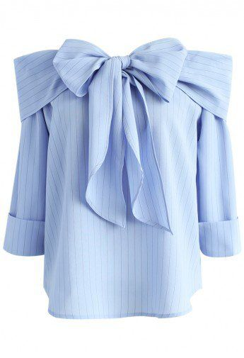 Stripe Off-shoulder Top in Blue with Bow