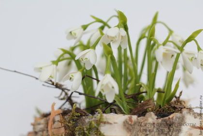 Весна - белый,подснежники,подснежник,композиция,Холодный фарфор,весна
