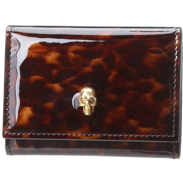 Alexander McQueen Fold Over Card Holder (2.350 ARS) ❤ liked on Polyvore featuring bags, wallets, handbags, tortoishell, card case wallet, leather bags, card holder wallet, leather card holder wallet and folding wallet